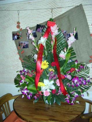 開店をお祝いする花