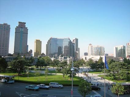 大連賓館2階バルコニーから中山広場