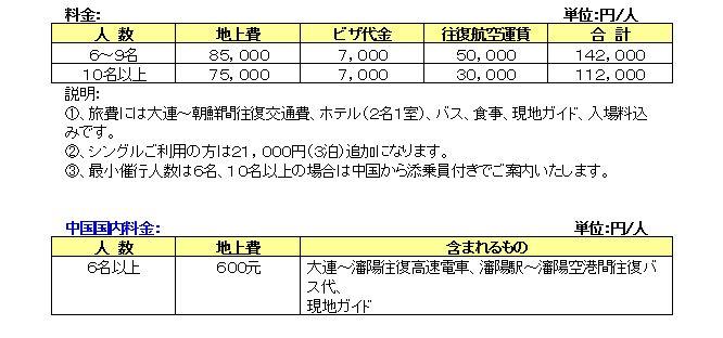 日程B 旅行費用